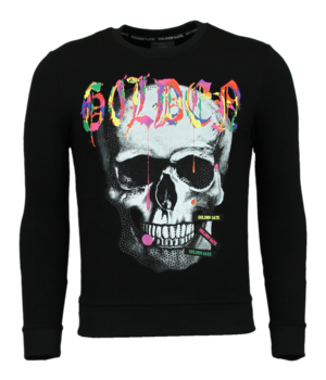 Golden Gate Paint Splash Skull Print Sweatshirt - Black