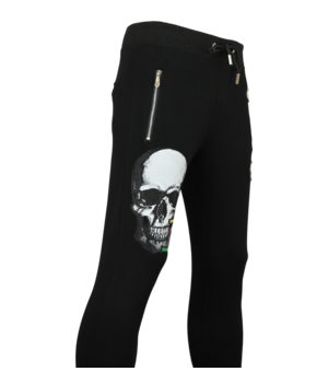 Golden Gate Glitter Skull Men Sweatpants - Black