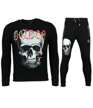 Golden Gate Paint Splash Skull Tracksuits Set - Black