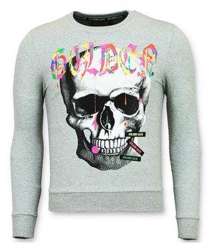 Golden Gate Paint Splash Skull Print Sweatshirt - Grey