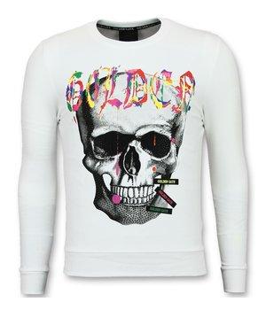 Golden Gate Paint Splash Skull Print Sweatshirt - White