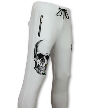 Golden Gate Glitter Skull Men Sweatpants - White