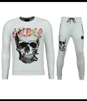 Golden Gate Paint Splash Skull Tracksuits Set - White