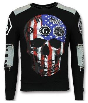 Golden Gate American Flag Skull Print Sweatshirt - Black