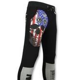 Golden Gate American Flag Skull Print Sweatpants - Black