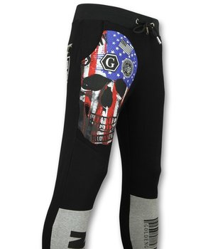 Golden Gate American Flag Skull Print Sweatpants - Black