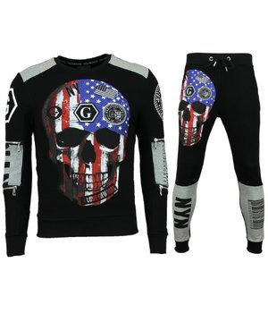 Golden Gate Exclusive Tracksuit Men - Skull American Flag Jogging - Black