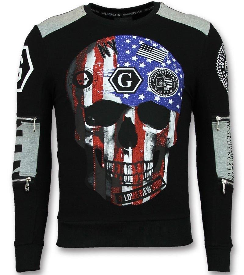 Golden Gate American Flag Skull Tracksuit Men - Black