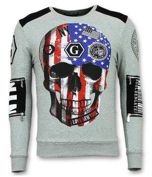 Golden Gate American Flag Skull Print Sweatshirt - Grey