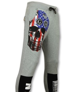 Golden Gate Men  Sweatpant - Skull American Flag - Grey