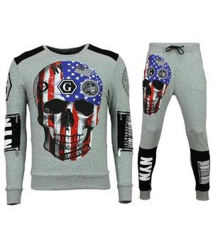 Golden Gate Men Exclusive Tracksuit - Skull American Flag Jogging - Grey