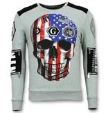 Golden Gate American Flag Skull Tracksuit Men - Grey