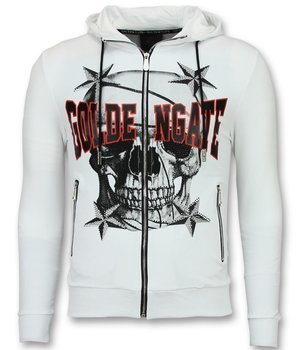 Golden Gate Exclusive Men Cardigan with Hood - Skull Pullover Zipper - White
