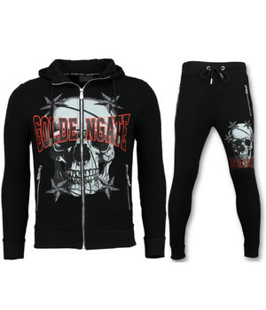 Golden Gate Cardigan Tracksuit Men - Skull Tracksuit Zipper - Black