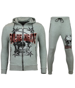 Golden Gate Cardigan Men Tracksuit - Skull Tracksuit Zipper - Grey