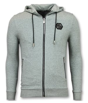 Golden Gate Cool Cardigan Hoodie - Men Training Hoodie - Grey