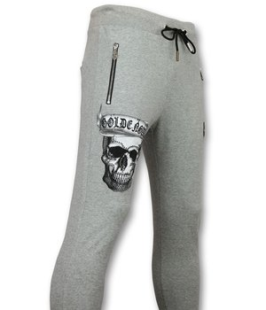 Golden Gate King Skull Printed Men Sweatpants - Grey