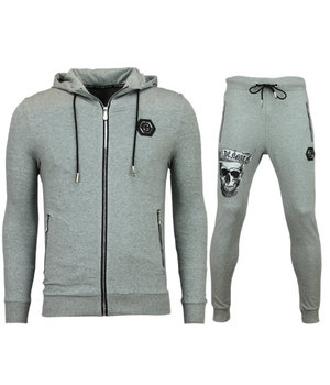 Golden Gate Men Cool Cardigan Tracksuit - Skull Tracksuit Zipper - Grey