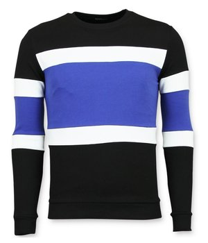 Enos Striped Sweater For Men - Black\Blue