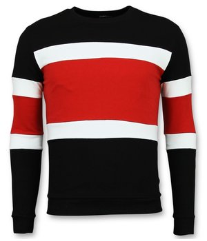 Enos Striped Sweater For Men - Black\Red