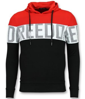 Enos Striped Hoodie Sweatshirt - Hoodie With Capuchon - Red