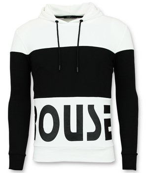 Enos Rouse Texted Men Hoodies - White\Black