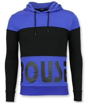 Enos Hoodie Men Slim Fit -  Striped Hooded Online Sweater - Blue