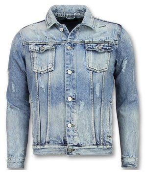 Enos Men Ripped Denim Jacket - J-929 - Blue