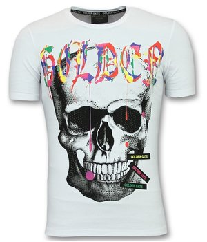 Golden Gate Skull Colors Shirt Men - T shirts Buy Men - White