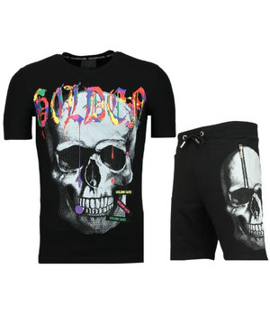 Golden Gate Skull Colors T-shirt Suit With Shorts - Men Tracksuits Jogging - Black
