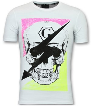 Golden Gate T shirt with Skull Men - Funny T shirts Trendy - White