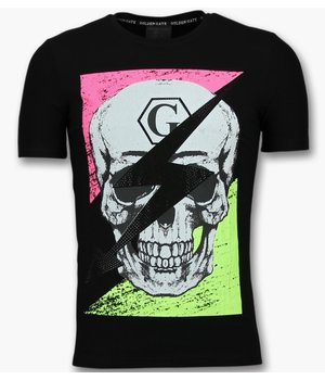 Golden Gate T shirt with Skull Men - Trendy Funny T shirts - Black