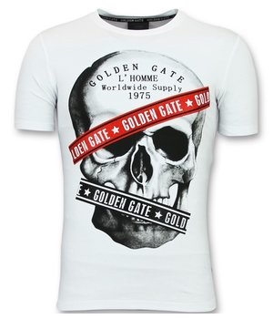Golden Gate T shirt Men Cool  - Shirt With Glitter Skull Men - White