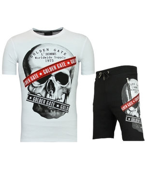 Golden Gate T shirt With Shorts Men Cool - Tracksuit Glitter Skull Men - White