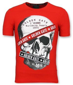 Golden Gate T shirt Men Cool  - Men Shirt With Glitter Skull - Red