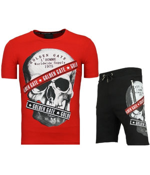 Golden Gate T shirt With Shorts Men Cool - Glitter Skull  Tracksuit Men - Red / Black