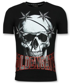 Golden Gate T shirt with Skull Stars - Trendy Cool T shirts - Black