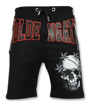 Golden Gate Skull Stars Shorts Men - Trendy Cool Shorts - Black