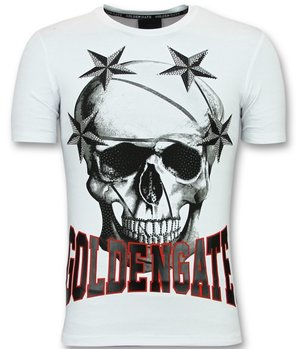 Golden Gate Skull Stars T shirt Men - Trendy Cool T shirts - White