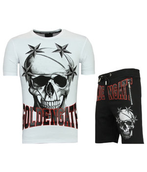 Golden Gate T shirt With Shorts Men Cool - Men Stars Skull Tracksuit  -White / Black
