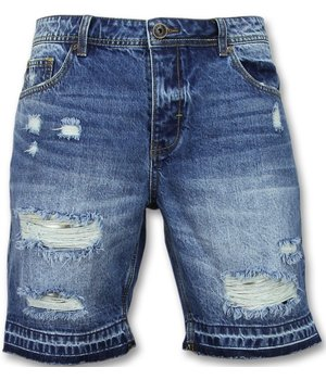 Enos Faded Ripped Shorts For Men - J-965 - Blue