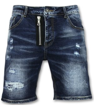 Enos Jeans Short Men - Three Quarter Pants Men - Blue