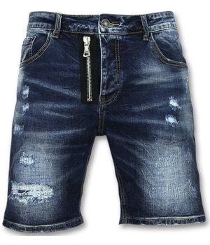 Enos Ripped Denim Men Shorts - J-975 - Blue