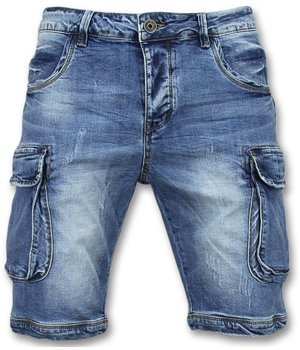 Enos Short Jeans With Side Pockets - Shorts Men Denim  - Blue