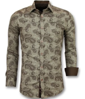 Gentile Bellini Paisley Printed Men Collar Shirts - 3001 - Brown