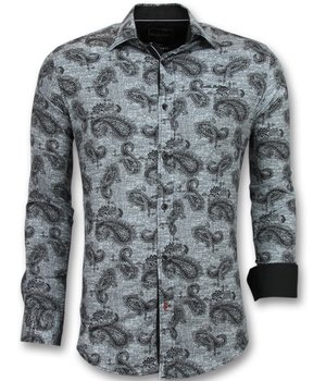 Gentile Bellini Italian Blouse Men - Shirt With Print In Collar - Black