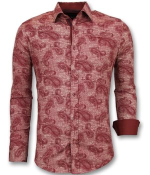 Gentile Bellini Men  Italian Blouse - Shirt With Print In Collar - Red