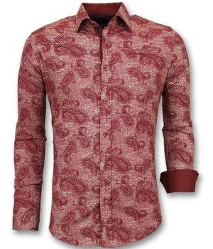 Gentile Bellini Men  Italian Blouse - Shirt With Print In Collar - Red