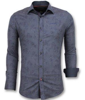Gentile Bellini Floral Blouse Men - Italian Shirts Men - Blue