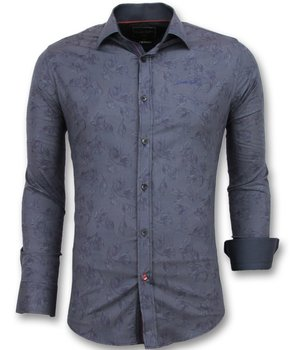 Gentile Bellini Floral Printed Men Shirts - 3005 - Blue
